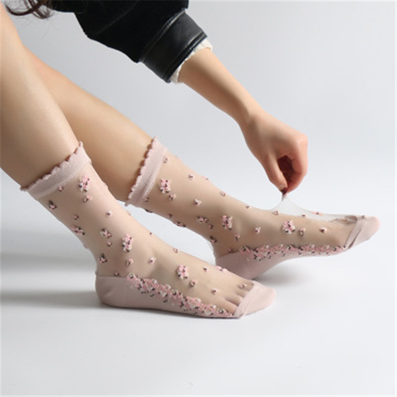 HTB137AJlHZnBKNjSZFhq6A.oXXaY - 1 Pair Breathable Ultra Thin Socks Summer Women Transparent Lace Silk Crystal Rose Flower Girls Elastic Short Socks Female Sox