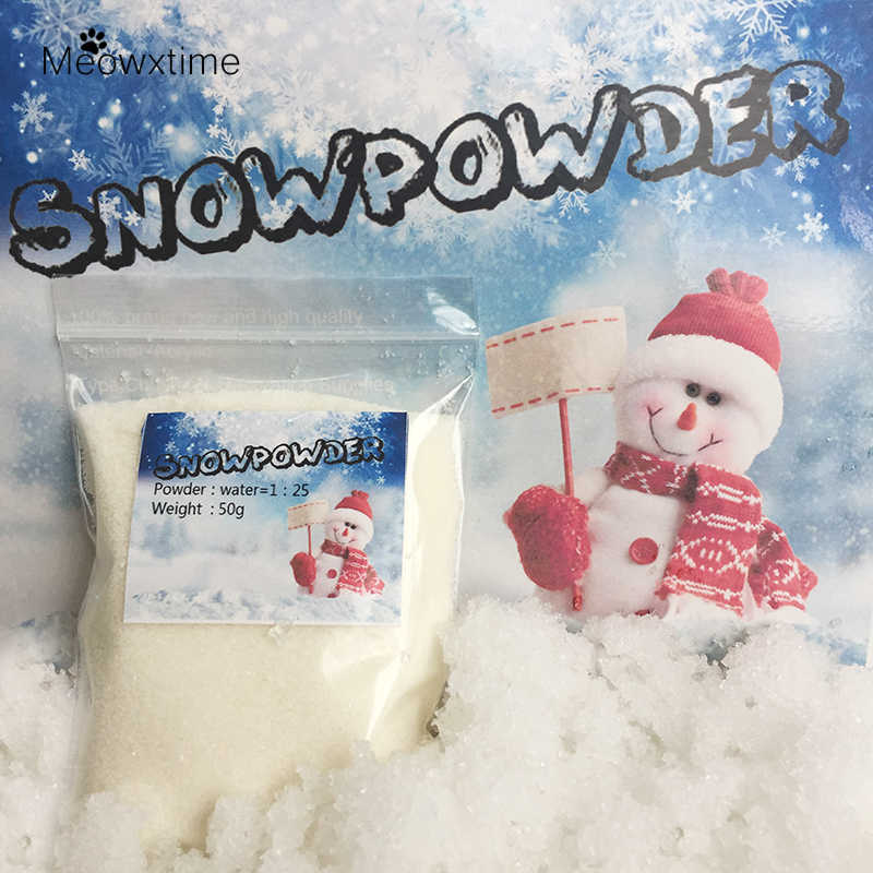 50g/bag Mer Christmas Gift Make Your Own Decoration DIY Snowflake Powder Man-made Magic Home Decor Artificial Snow Powder Scene