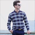 2017 new spring autumn fashion casual checked lattice color lapel Men's high-quality long-sleeved T-shirt POLO shirt M-3XL