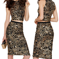 women two pice Sequined Dress Sexy Sleeveless Patchwork Pencil Midi Dress Sexy Club Night Bandage Bodycon Dress 4474