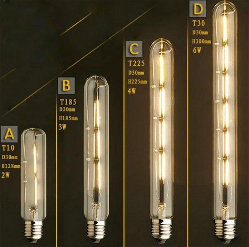 3000K 6000K LED Filament Bulb T10 T185 T225 T300 2W 4W 6W Leds Edison Bulbs Long Test Tube Retro Lamp Linear Vintage Led Bulb