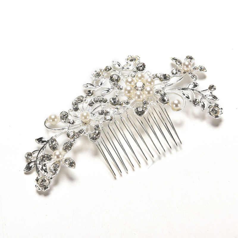 Tiara de boda Floral agradable horquilla brillante Chapado en plata cristal imitación perla nupcial peines para el cabello accesorios para el cabello