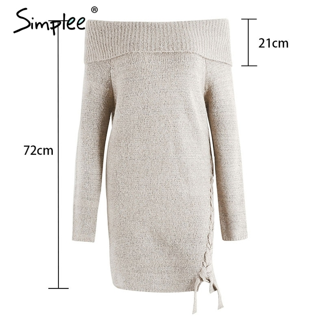 Simplee Off shoulder lace up  vintage dress women Sexy casual autumn winter dress Knitting elastic long sleeve dress vestidos