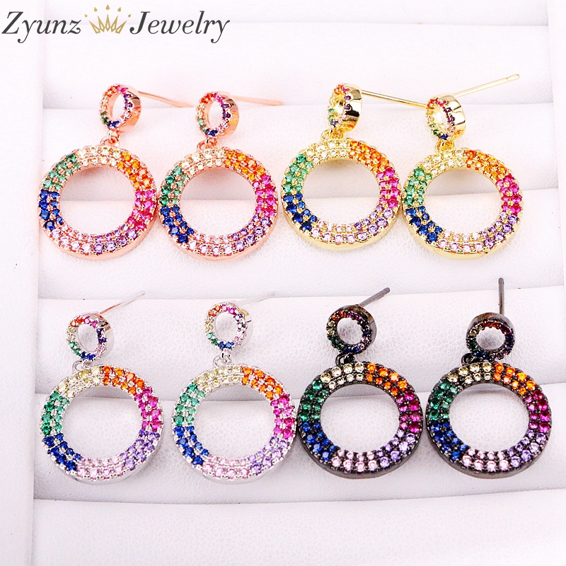 5 Pairs, 17mm, Crystal Zirconia Earrings For Girl Two Circle Drop Earrings Women 2019 Fashion CZ Dangle Earrings 4 Colors