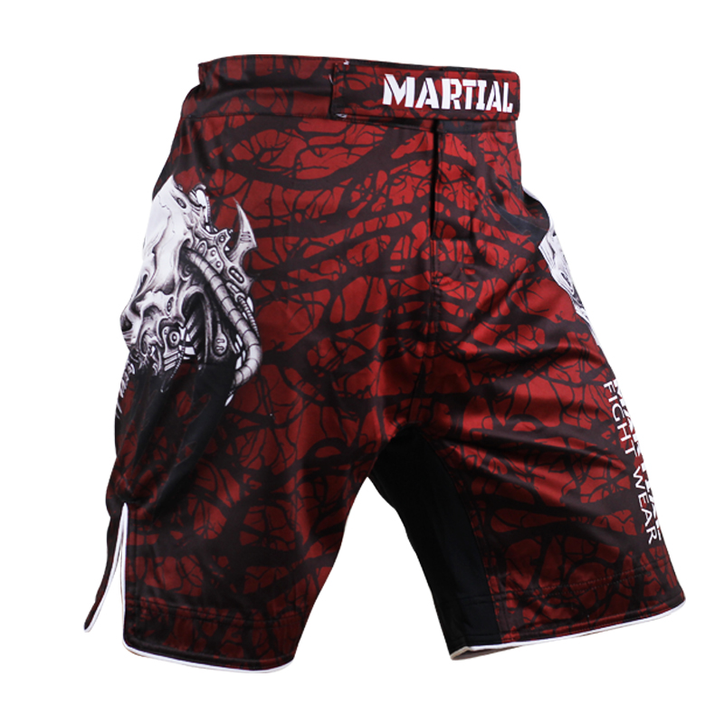 Mens Skull pattern MMA shorts Fitness Combat mma Shorts Breathable wear Cost-effective Muay Thai Boxeo Free shipping