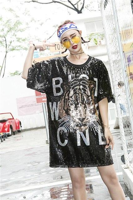 46d8215c419 Women Summer Fashion Cartoon Tiger Sequins Dress Short Sleeve Round Neck T- Shirt Dress Plus