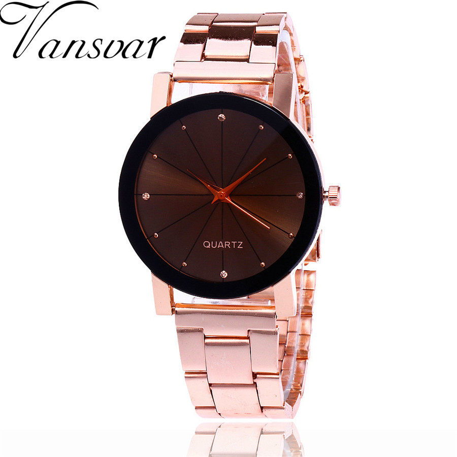 Hot Selling Vansvar Luxury Fashion Stainless Steel Men Watch Casual Women Dress Wrist Watch Quartz Watch Clock V70 hot selling stainless steel watch women