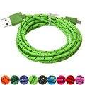 Fiable 3 m/10ft cáñamo cuerda micro usb cargador cable de sincronización de datos para el teléfono celular de carga y sincronización de datos compatible universal