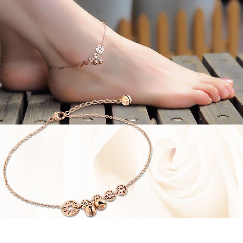 Hot Five ancient Chinese Coins Little Bell Anklet Titanium Steel Jewelry Women Girl Lover Barefoot Anklet Fashion Foot Chain