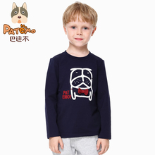 PATEMO Kids Boys T-shirts Summer Full Sleeves O-Neck Rib Neck White and Navy Blue Print Tops For 4T~10T Boys Children Clothing