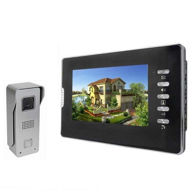 "7"" Color Video Door Phone Doorbell Video Intercom Kit IR Night Vision Camera Video Intercom Monitor for Home Security F4355A"