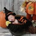 Bebé recién nacido Fotografía Atrezzo Negro Harley Potter Recién Nacido Apoyos Sombrero Del Bebé Del Ganchillo Del Traje Otufits Atrezzo Fotos bebe