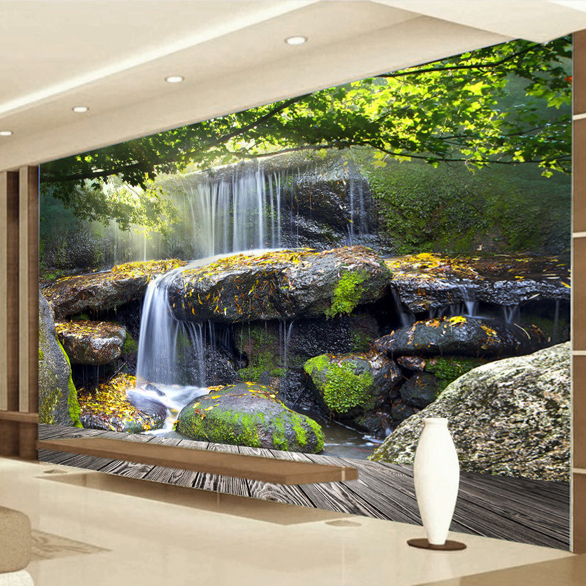 Us 8 79 58 Off Custom Mural Printed Wallpaper Modern Natural Landscape Waterfall Background Wall Painting Canvas Living Room Wall Paper Rolls In