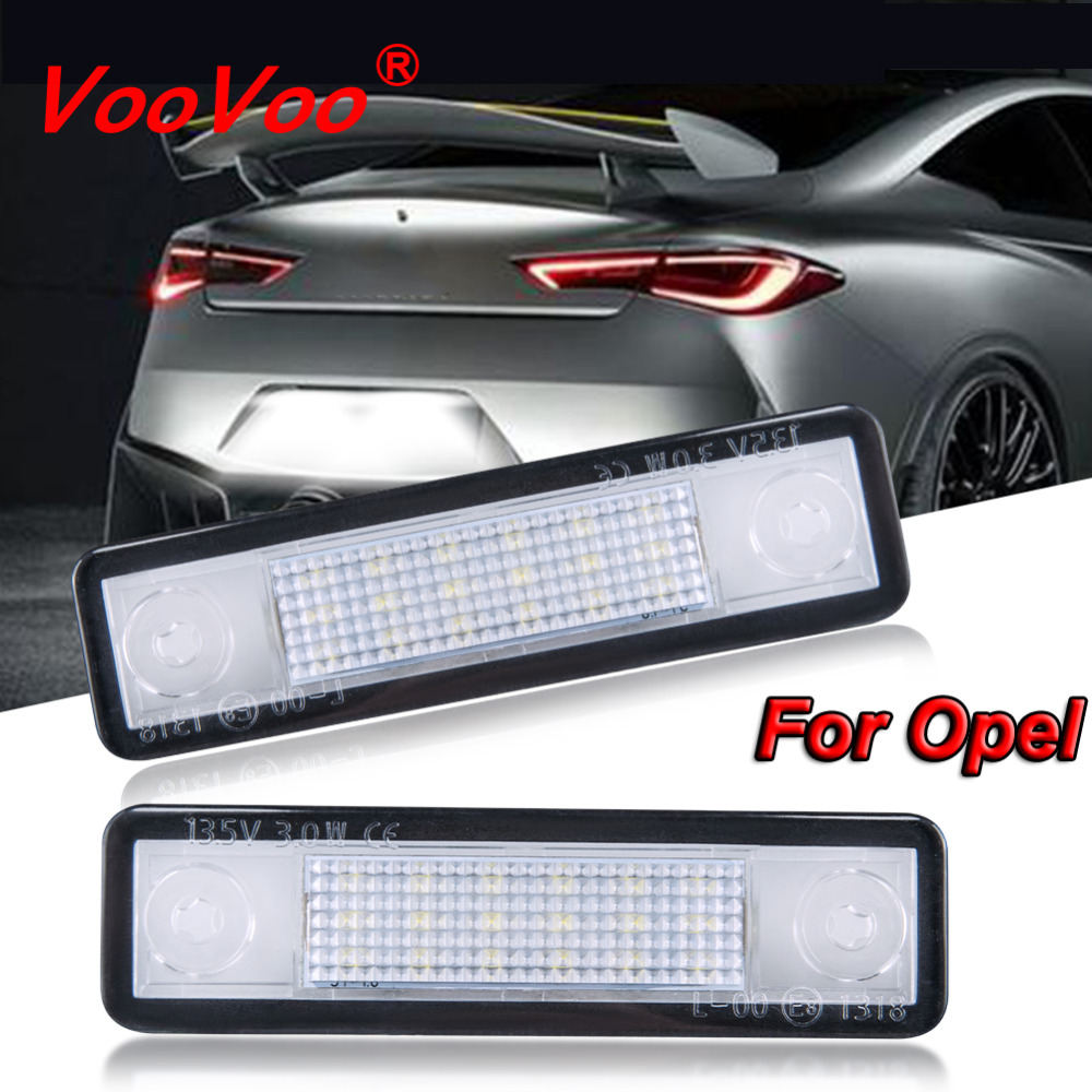 VooVoo 2Pcs 18 LED License Plate Light Number Plate Lamp 12V No Error For Opel Corsa Astra Omega Vectra Zafira Auto Accessories