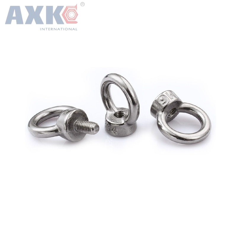 AXK M10*18 304 Stainless Steel Lifting Eye Bolts Round Ring Hook Bolt 1pc m5 304 stainless steel chain ratchet tie fasten bolts hook