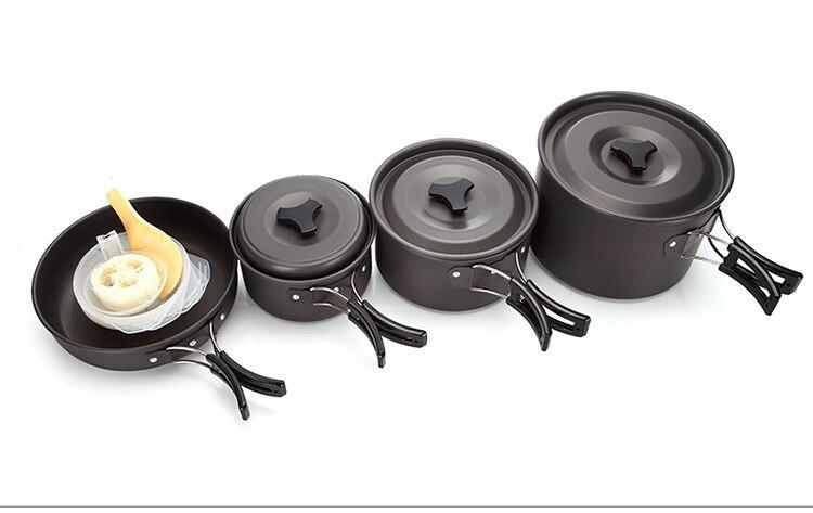 4-5 personnes camping vaisselle en plein air cuisine ensemble camping ustensiles de cuisine voyage vaisselle antiadhésive casseroles pan pique-nique ensemble randonnée ustensile