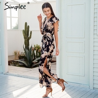 Simplee Sexy V Neck Tiered Ruffle Chiffon Jumpsuit Women Side Split Loose Black Jumpsuit Romper Sash