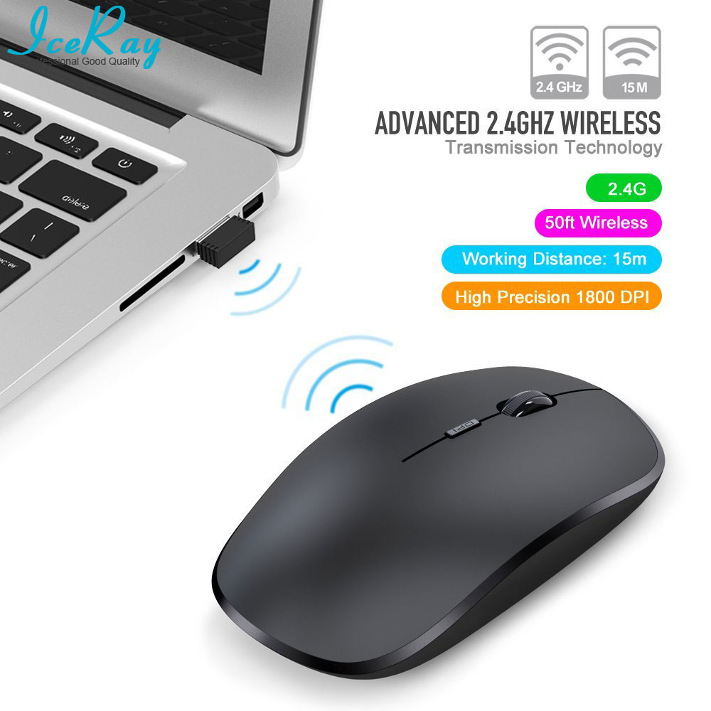 IceRay New Noiseless Computer Wireless Mouse With Silent Key High Precision 1800DPI