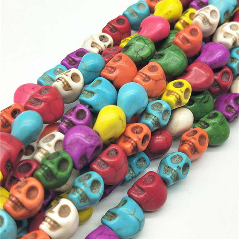 50pcs/lot 8mm Cheap Hot Beads Colorful Skull Natural Stones Round Spacer Loose Beads For Necklace Bracelet Charms Jewelry Making