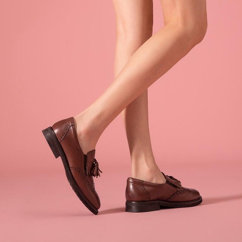 Ayakk.'ten Kadın Topuksuz Ayakkabı'de BeauToday Kadın Loafer'lar Dana Derisi Hakiki Deri Saçak Brogue Tarzı Yuvarlak Toe Slip On Bahar Sonbahar Bayanlar Rahat Daireler A21047'da  Grup 3