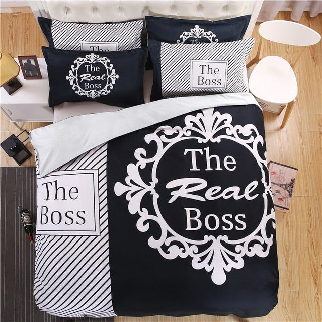 Moderne Schwarz Und Weiß Echt Boss Bettwäsche Set Bettdecke