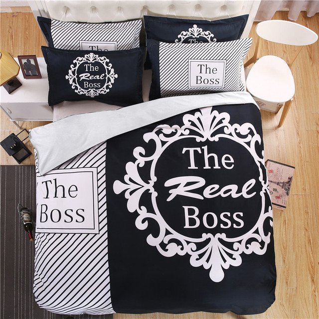 Modern Black And White Real Boss Bedding Set Duvet Cover Bed Sheet Pillow Case King Queen Size Linen 4pcs