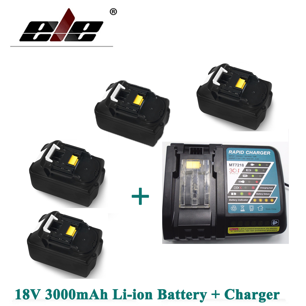ELEOPTION 4PCS Recharegeable Power Tool Battery 18V 3000mAh 3.0Ah Lithium-ion for Makita BL1830 BL1840 + Charger