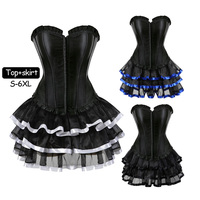Ladies Corsets Bustiers Overbust Tops Dress Satin Sexy Victorian Corset Vintage Style ClubWear Costume Women set