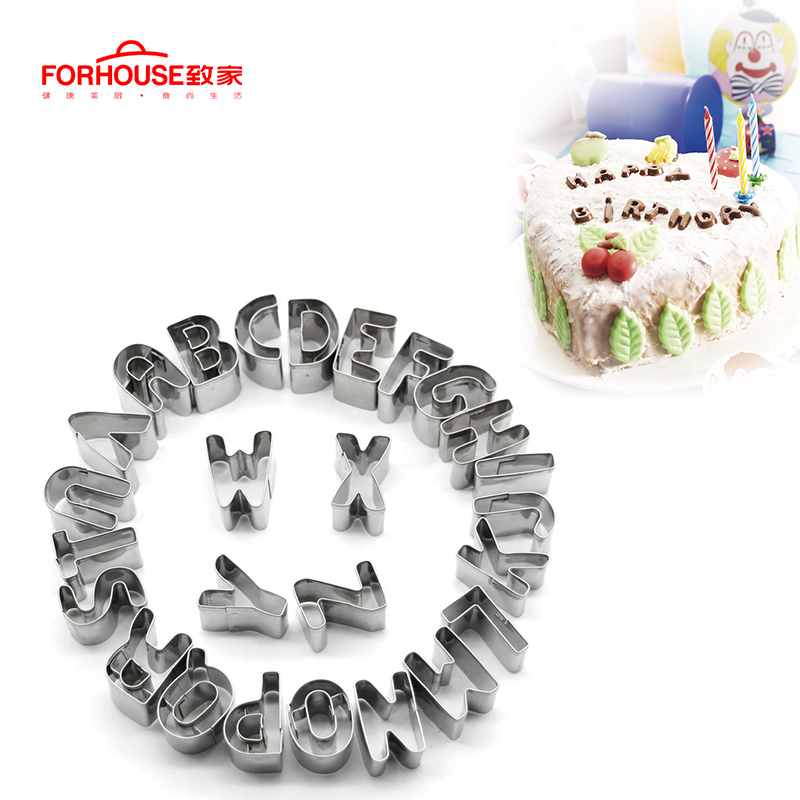 26 pcs/set Stainless Steel Cookies Mould <font><b>Letter</b></font> Shape <font><b>Cake</b></font> Mold Cutter <font><b>Decorating</b></font> Stencil Sugar Baking Fondant Moulds <font><b>Cake</b></font> <font><b>Tools</b></font> image