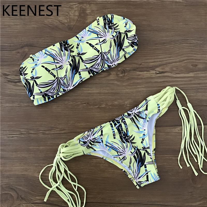 KEENEST Pad Support Swimsuit Bikini Set Bandage Swimwear Beach Wear Bathing Suits Women