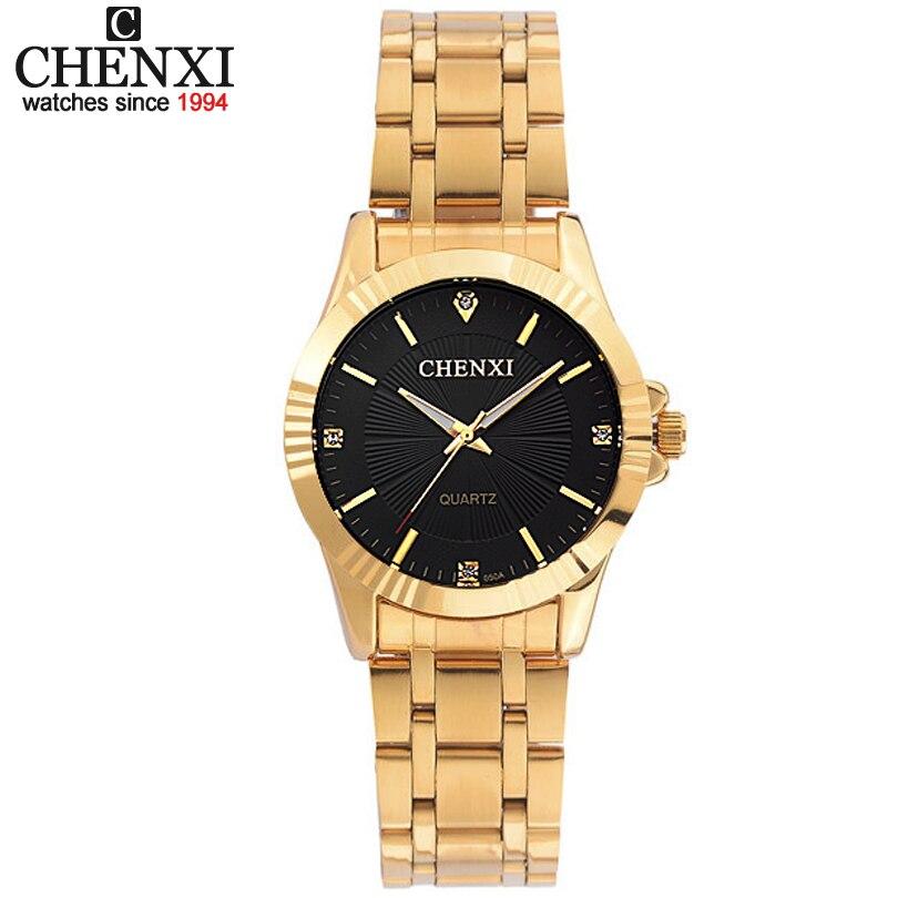 Top Fashion Marke Luxus CHENXI Uhren Frauen Goldene Uhr Beiläufige Quarz-armbanduhr Wasserdichte Weibliche Uhr Für Feminine