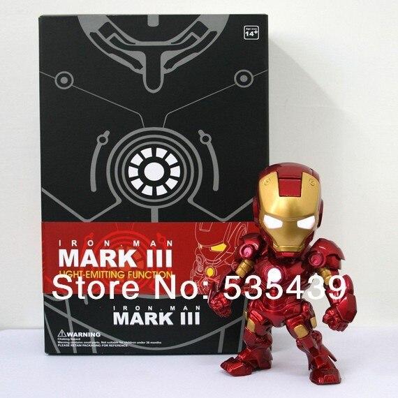 NEW Hot Movie Iron Man Q version Action Figure Superhero luminous avengers alliance Mark  PVC Action 16cm Toy