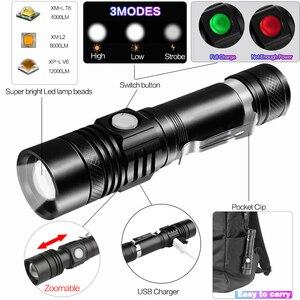 Image 2 - 6200LM סופר בהיר פנס Led USB linterna led לפיד T6/L2/V6 כוח טיפים Zoomable אופניים אור 18650 נטענת