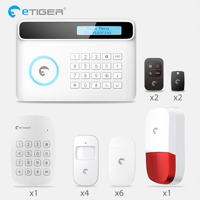 Etiger S4 2018 New Design PSTN GSM Autodial Home Security Alarm System+iOS  App/
