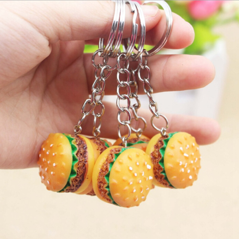 30pcs Simulation Hamburger Key Chain Creative Pendant Bag Charm Accessories Handmade Resin Food Car Key Ring Lovely Keychain