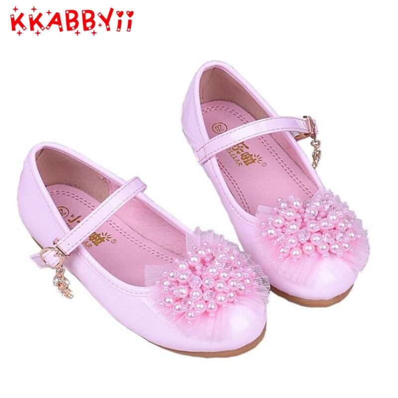 Kkabbyii обувь для детей для девочек обувь на плоской подошве Свадебные Бисер жемчуг Детская Вечеринка дышащая бантом из коровьей кожи кожа белый розовый