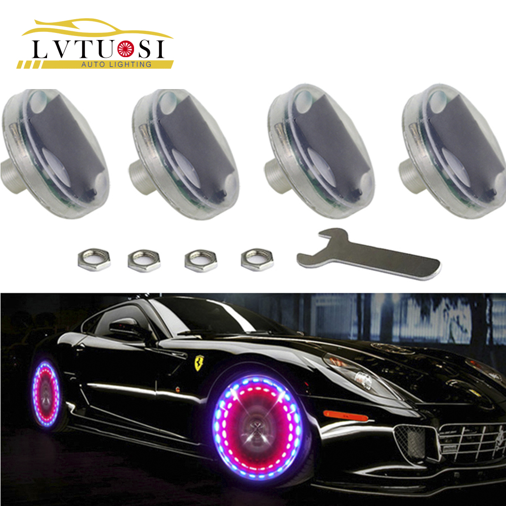 LVTUSI 4pcs / lot Stunning Waterproof Solar Car Tuning Gas Nozzle Cap - Lampu kereta