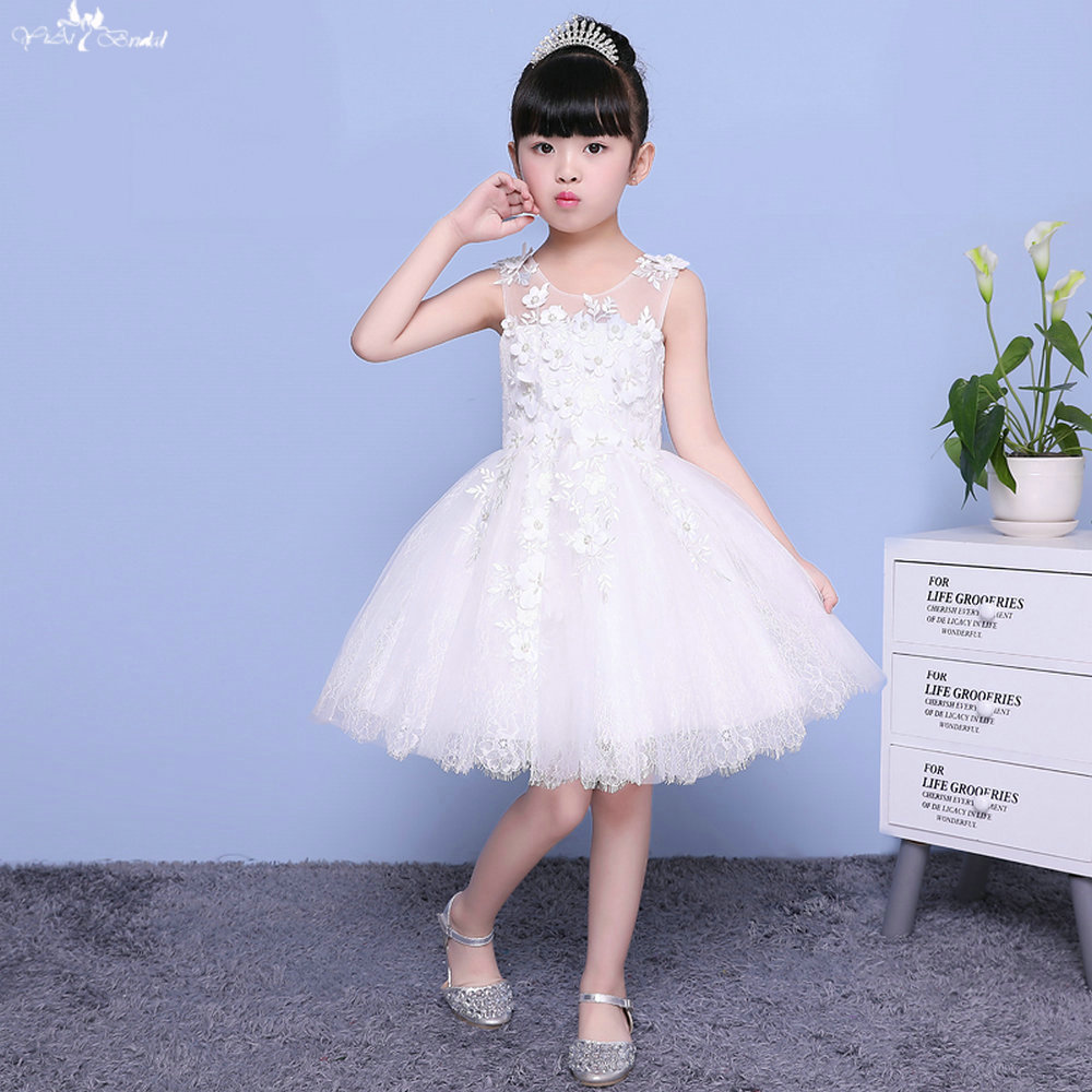 LZC009 Illusion Butterfully Pearl Beaded Fringe   Dress     Flower     Girls     Dress