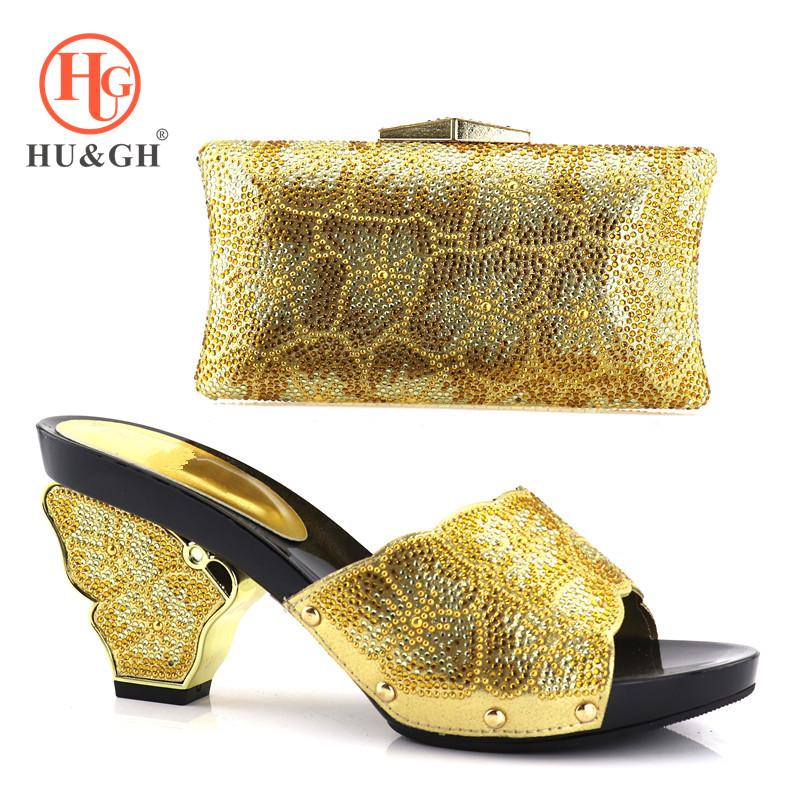 Gold Color Italian Shoes with Matching Bags Set Decorated with Rhinestone African Wedding Shoes and Bag Set Party Wedding Shoes g36 wholesale gold wedding shoes and bag set hot selling latest african wedding lady shoes matching bag with stones