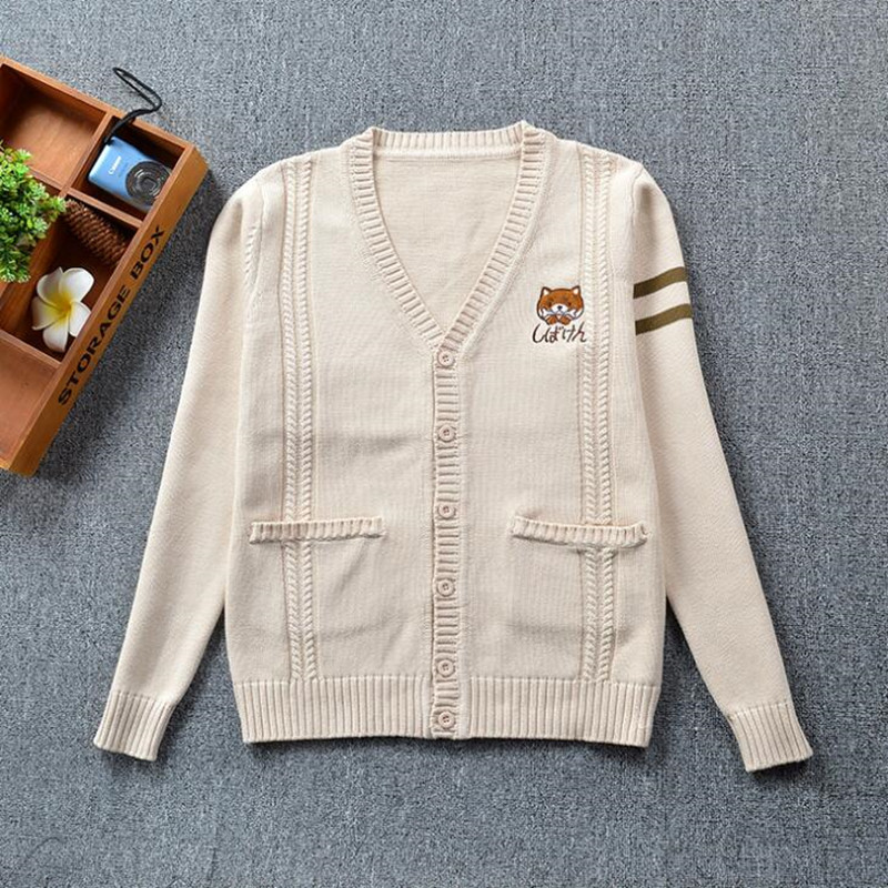 7905212bbb7 US $39.64 |Japanese School JK Uniform Cardigans Girls Sweet Cute Cartoon  Dog Embroidery Sweaters Women Casual Loose Pocket Knitted Cardigan-in ...