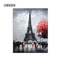 Paris tour Eiffel image modulaire peinture par numéros sur toile bricolage coloriage dessin par numéros pour mur moderne Art photo