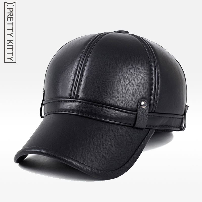 High quality artificial leather men's and winter warm hat ear protection plus thick middle aged elderly leather baseball cap leather wool hat middle aged men s winter warm thick sheepskin flat baseball cap winter snapback bone ear protection cap