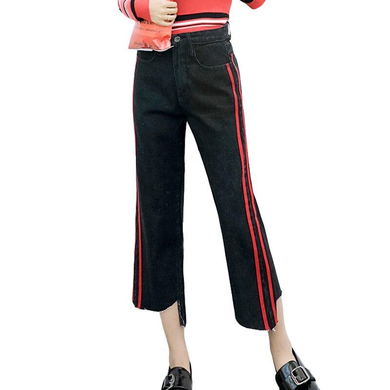 2017 Autumn Casual High Waist Jeans Woman Fashion Black Side Stripe Jeans Vintage Wide Leg Trousers Loose Long Denim Pant 2017 autumn side stripe jeans women casual boyfriend jeans pants roll cuff high rise loose straight wide leg denim long trousers