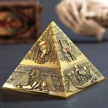 Cinzeiro de pirâmide de metal, decoração de casa, hotel ktv, ornamentos vintage, presente do pai, dia do pai, eliminelim