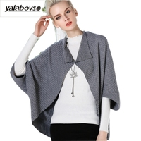 Yalabovso 2017 Elegant Knitting Batwing Sleeve Sweaters warm Loose Sweaters for woman AW16D976 Z20