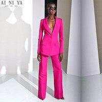 Новый 2019 фуксия строгие брюки костюмы для свадеб женские деловые костюмы женские брюки костюмы женские деловые костюмы на заказ