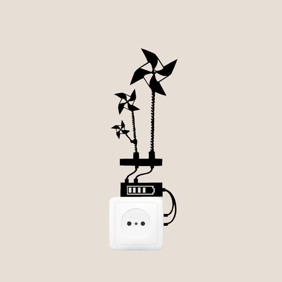 Большой размер, крутой светильник для окружающей среды, Виниловая наклейка на стену, экономит энергию, домашний переключатель, художественные наклейки, украшения
