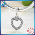 Fashion GIFT 925 Sterling Silver Symbol Of Love, Clear CZ Heart Crystals Surround Charms fit original Bracelets Jewelry