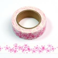 1pcs Pink Flowers Washi Tape Adhesive Tape DIY Scrapbooking Sticker Label Masking Tape 32 pcs set 15mm 5m color laboratory pink series washi tape adhesive tape diy scrapbooking sticker label masking tape