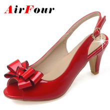 Airfour New Fashion Bowtie Peep Toe High Heel Pumps Patent Leather Slip On Slingback Pumps Women Summer Shoes Sandals
